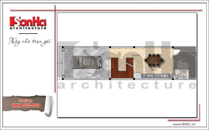 Bản vẽ mặt bằng nhà ống hiện đại 1 tầng kiến trúc hiện đại 4 tầng tại Hải Phòng