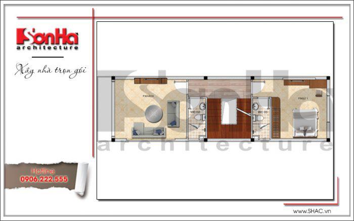 Bản vẽ mặt bằng nhà ống hiện đại 2 tầng kiến trúc hiện đại 4 tầng tại Hải Phòng
