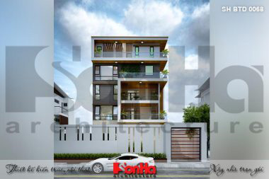 BÌA thiết kế biệt thự hiện đại 5 tầng mặt tiền 12m có sân vườn hồ bơi tại thái bình sh btd 0068