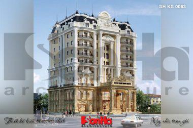 BÌA thiết kế khách sạn kiến trúc tân cổ điển mặt tiền 29.8m tại an giang sh ks 0063