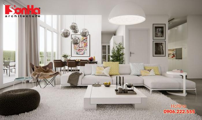Các màu pastel được áp dụng thiết kế nội thất phòng khách ngày càng nhiều