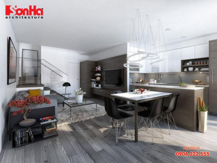 Cách thiết kế phòng khách và bếp chung cho nhà ống hiện đại tiện nghi