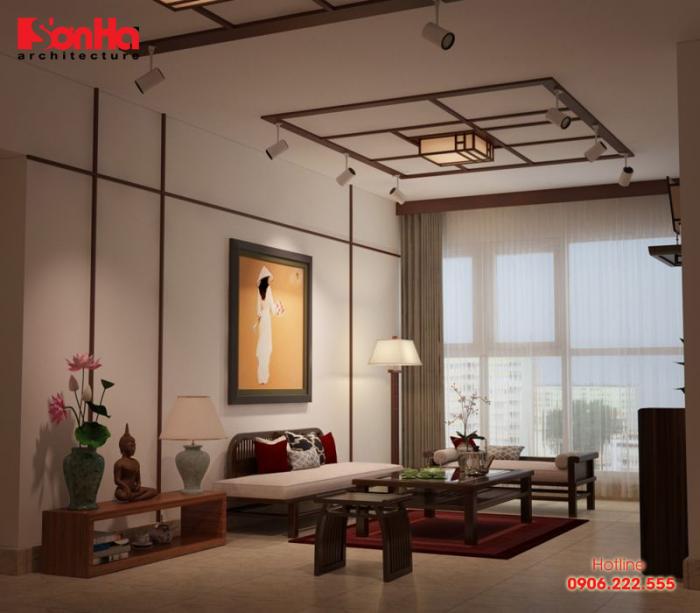 Cách trang trí phòng khách căn hộ phong cách nội thất Đông Dương