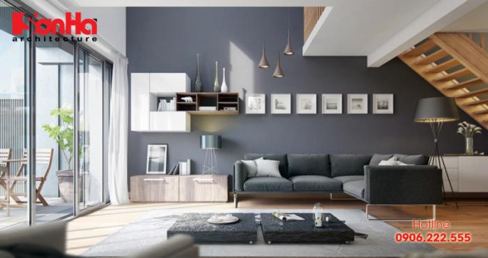 Còn đây là sự kết hợp của gam màu trắng và xám trong trang trí phòng khách