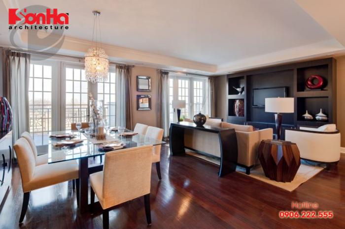 Để phòng khách và phòng bếp liên thông thì việc thoát mùi cần được làm tốt