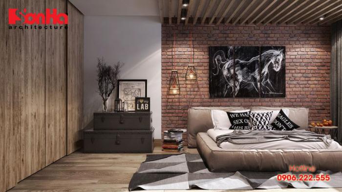 Gạch thô cũng là nguyên liệu làm nên những căn phòng ngủ đẹp và sang