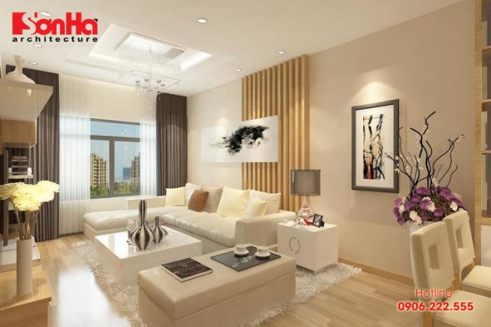 Gam màu trầm ấm cho không gian phòng khách liên thông phòng ăn
