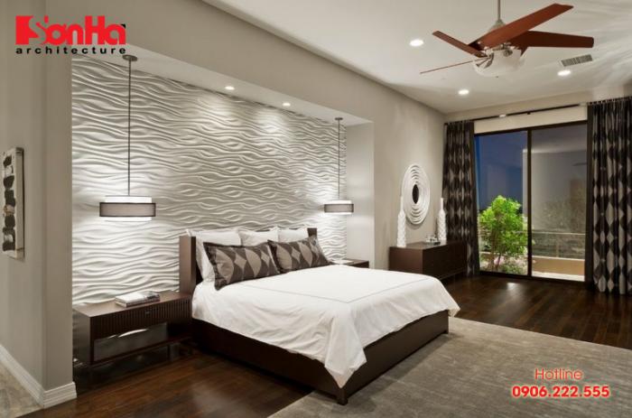 Giấy dán tường màu nổi tạo không gian đẳng cấp cho phòng ngủ