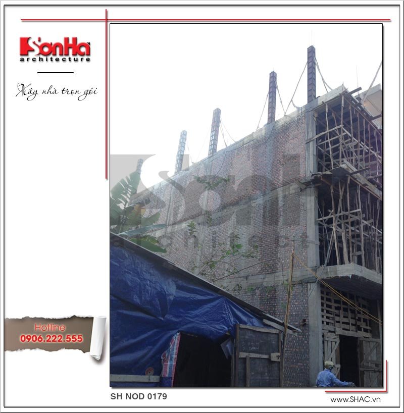 Hình ảnh thi công xây nhà phố trọn gói 4 tầng hiện đại tại Hải Phòng