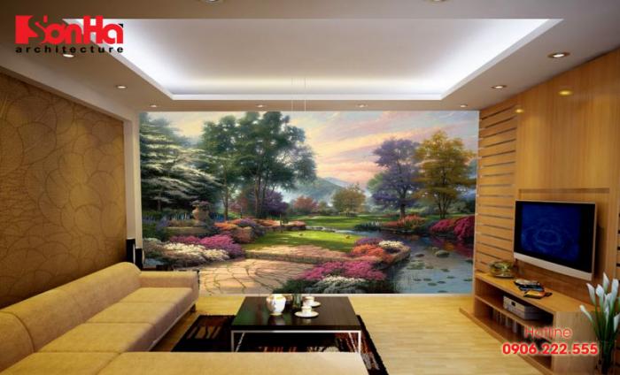 Không gian nội thất phòng khách càng trở nên cá tính với nét vẽ tường