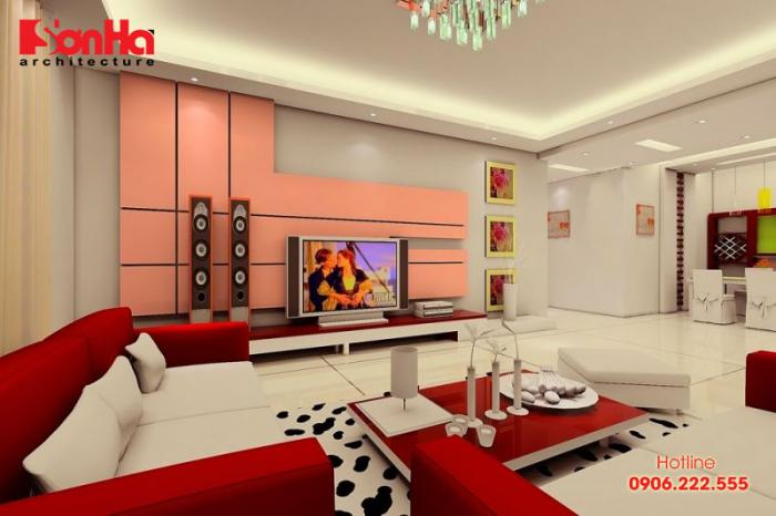 Không gian phòng khách cá tính và ấn tượng với việc sơn màu đỏ