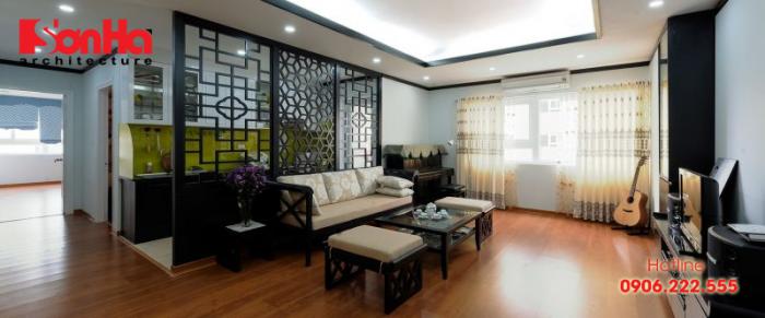 Không gian phòng khách đẹp thiết kế nội thất phong cách Đông Dương