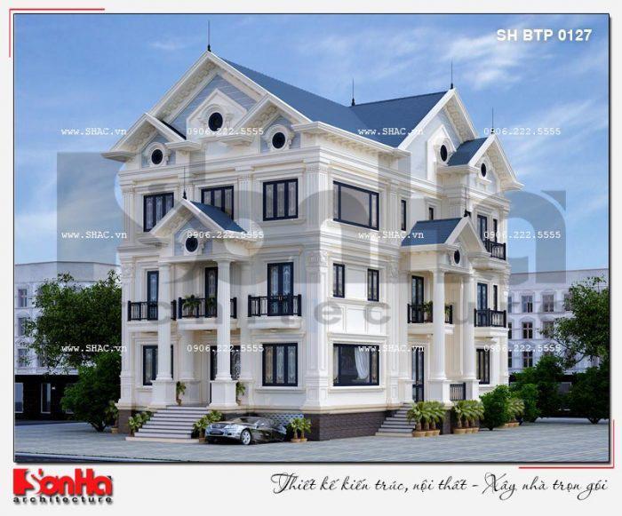 Kiến trúc biệt thự tân cổ điển 2 tầng tại Quảng Ninh thiết kế 2 mặt tiền đẹp