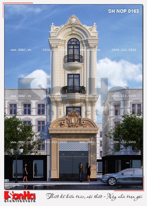 Kiến trúc mặt tiền của mẫu nhà phố có thang máy này rất được yêu thích