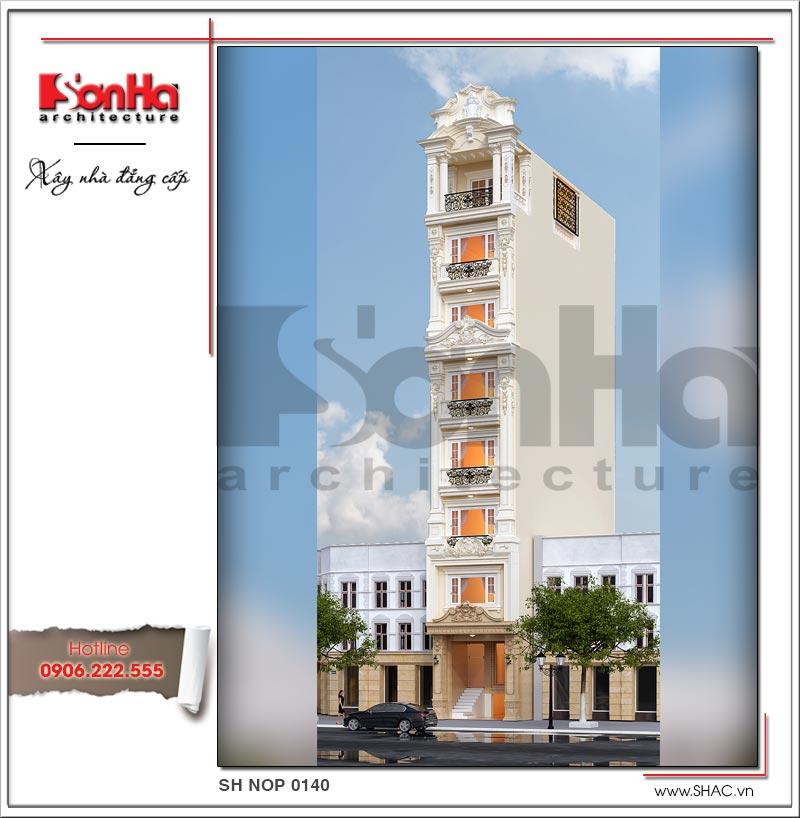 Kiến trúc mặt tiền đẹp của ngôi nhà ống phong cách Pháp có thang máy tại Hà Nội