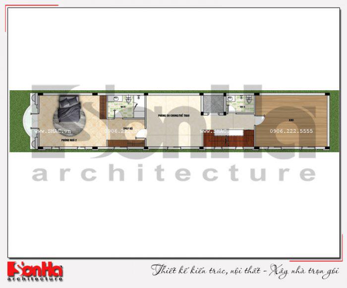 Mặt bằng bố trí công năng tầng 3 ngôi nhà phố kiểu Pháp có thang máy tại Vĩnh Phúc