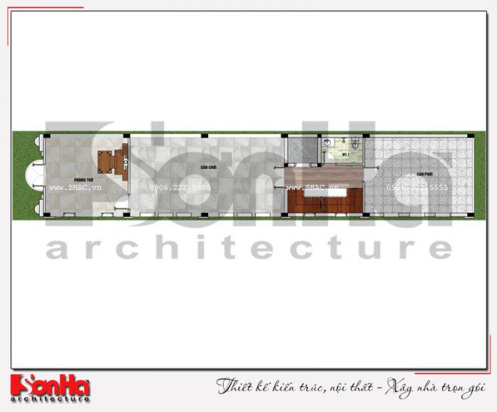 Mặt bằng bố trí công năng tầng 4 ngôi nhà phố kiểu Pháp có thang máy tại Vĩnh Phúc