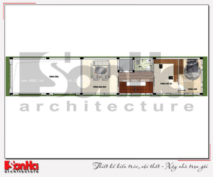 Mặt bằng bố trí công năng tầng lửng ngôi nhà phố kiểu Pháp có thang máy tại Vĩnh Phúc