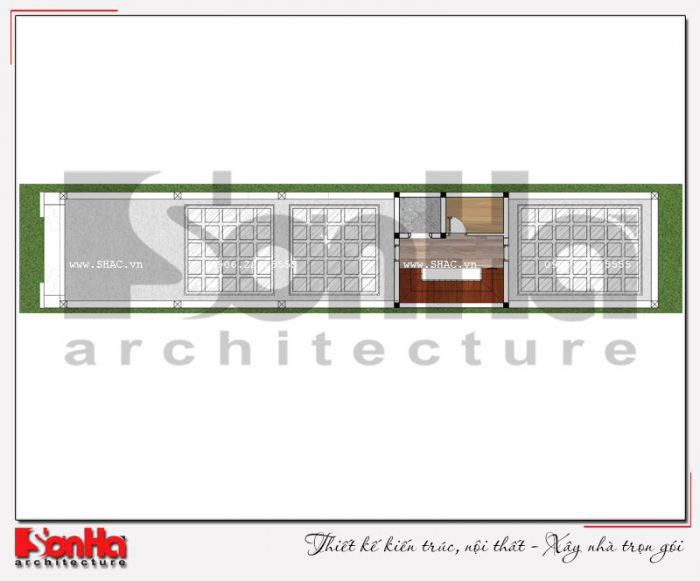 Mặt bằng bố trí công năng tầng tum ngôi nhà phố kiểu Pháp có thang máy tại Vĩnh Phúc