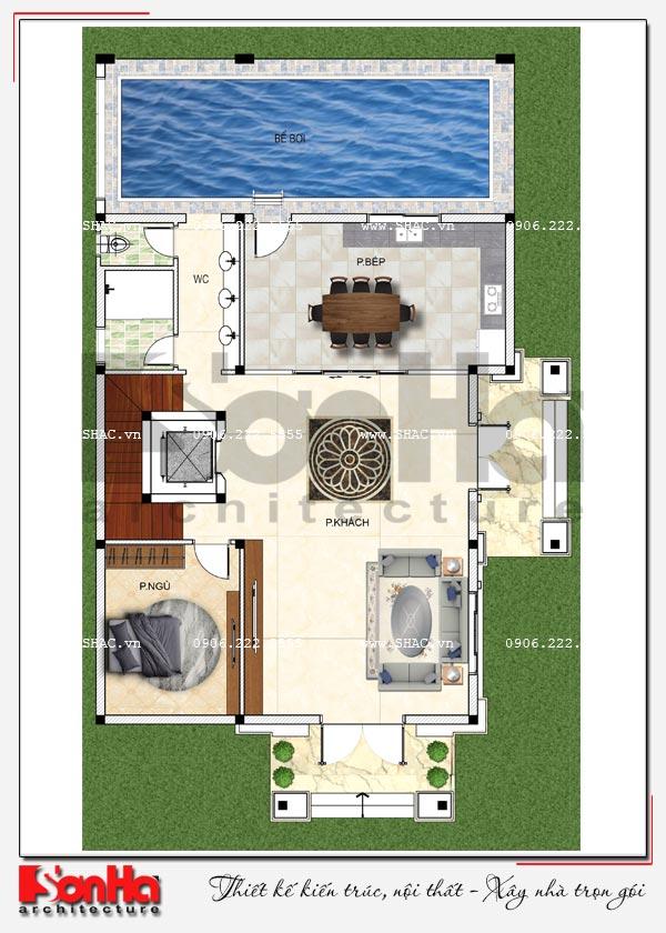 Mặt bằng công năng tầng 1 biệt thự tân cổ điển 2 mặt tiền có hồ bơi tại Hải Phòng