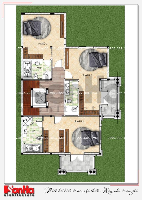 Mặt bằng công năng tầng 2 biệt thự tân cổ điển 2 mặt tiền có hồ bơi tại Hải Phòng