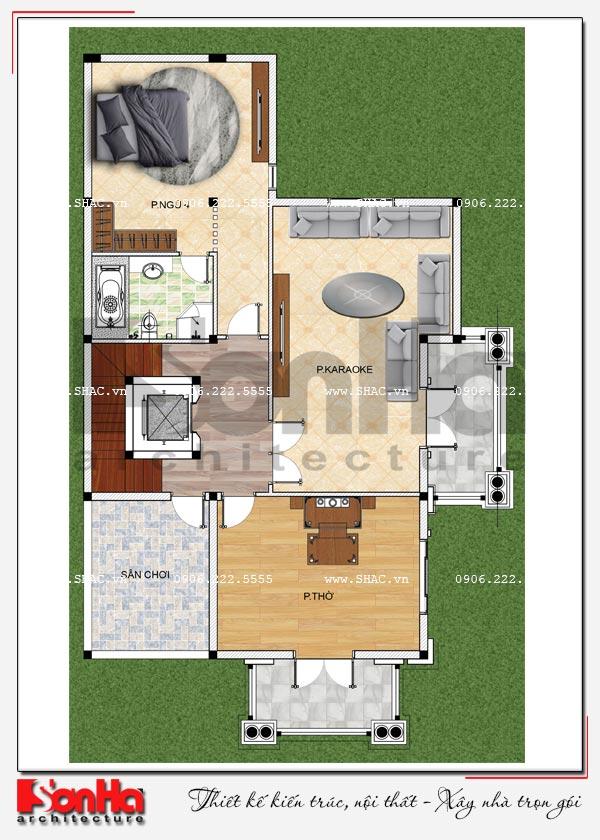 Mặt bằng công năng tầng 3 biệt thự tân cổ điển 2 mặt tiền có hồ bơi tại Hải Phòng