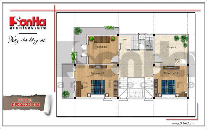 Mặt bằng tầng 2 biệt thự hiện đại tại Hải Phòng theo hình thức xây nhà trọn gói