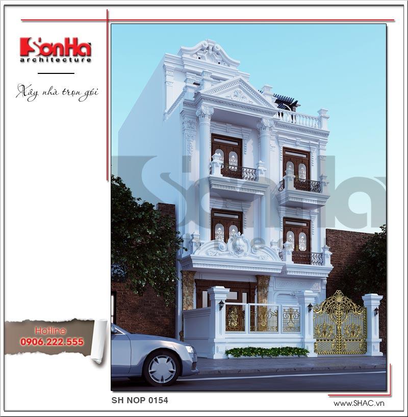 Mẫu nhà đẹp ngang 8m phong cách kiến trúc Pháp điển hình thiết kế nhà Nam Định