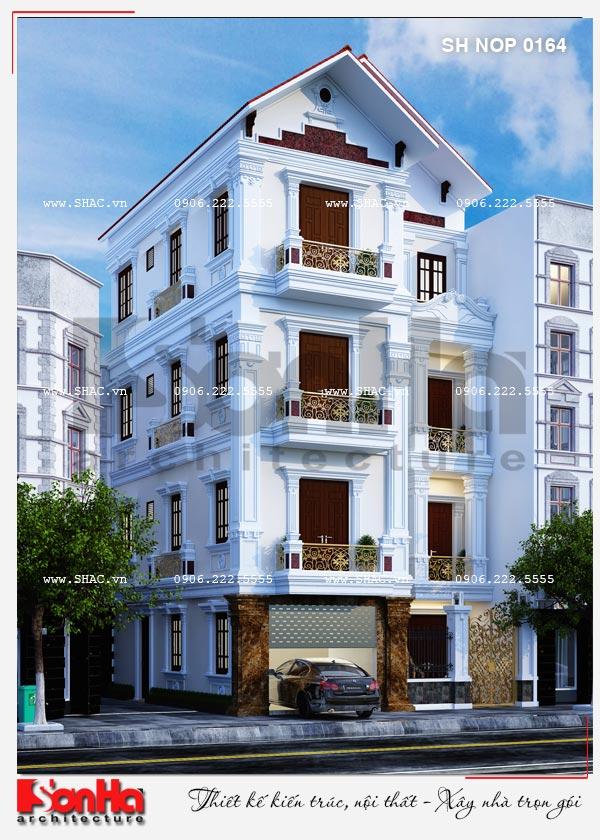 Mẫu nhà phố đẹp mặt tiền 8 mét kiểu Pháp trang trí đơn giản nhưng ấn tượng