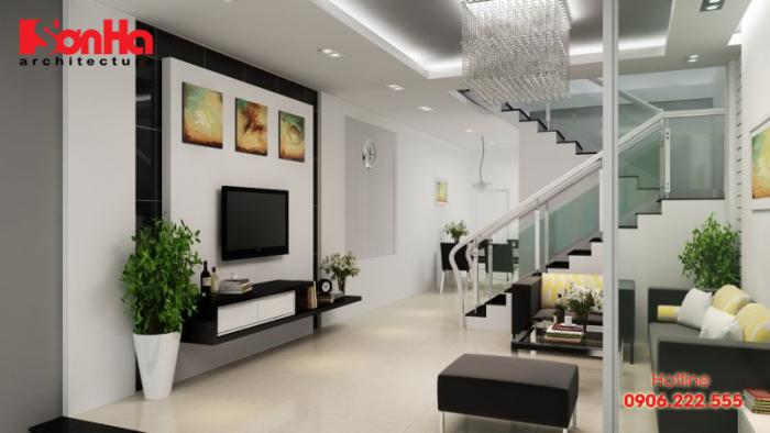 Mẫu phòng khách đẹp có cầu thang thiết kế giản dị nhưng tinh tế tạo hình