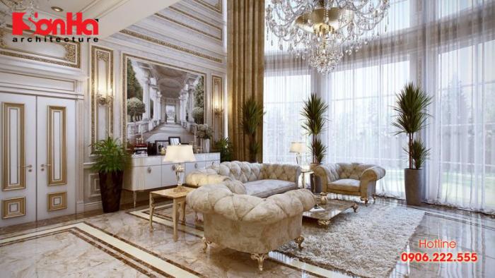 Mẫu phòng khách đẹp điển hình thiết kế nội thất tân cổ điển sang trọng