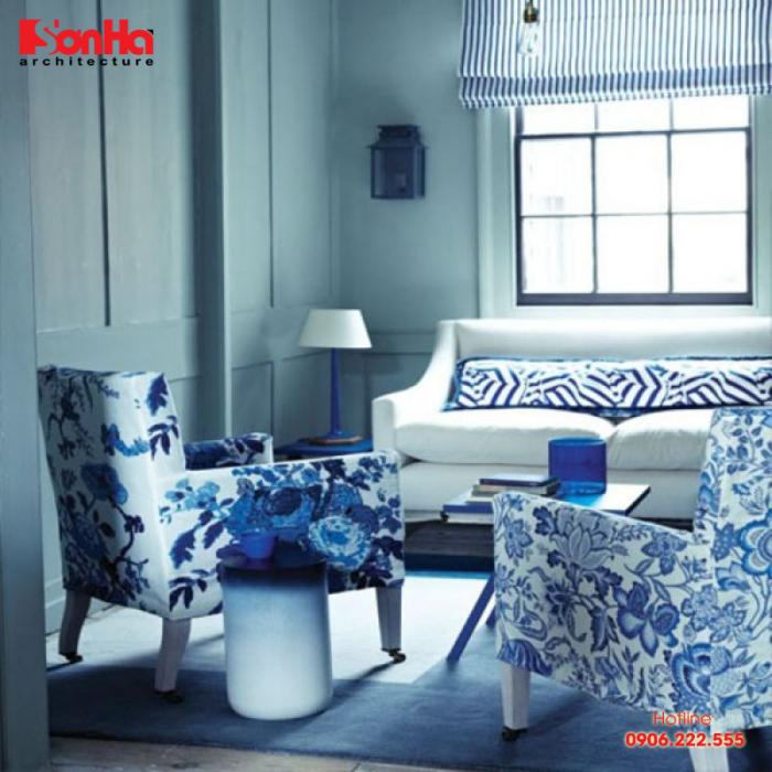 Mẫu phòng khách đẹp với việc sử dụng màu xanh với biên độ phù hợp