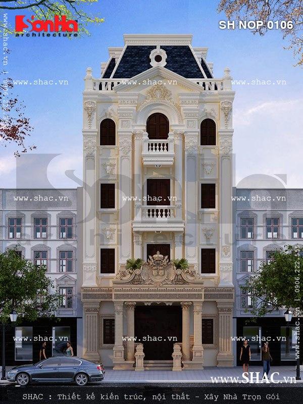 Mẫu tham khảo hữu ích cho thiết kế nhà phố ngang 8m cổ điển Pháp đẹp và sang