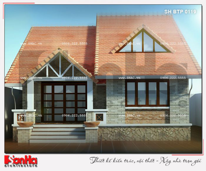 Mẫu thiết kế biệt thự 1 tầng trên diện tích 100m2 trang trí giản dị mà đẹp mắt