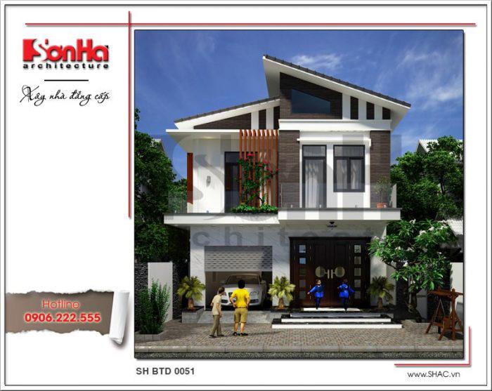 Còn đây là phối cảnh thiết kế kiến trúc biệt thự hiện đại 2 tầng của gia đình chị Hà