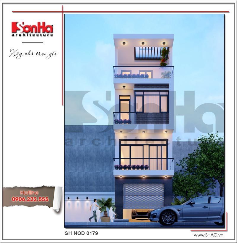 Mẫu thiết kế nhà phố hiện đại tại Hải Phòng 4 tầng xây dựng theo hình thức trọn gói