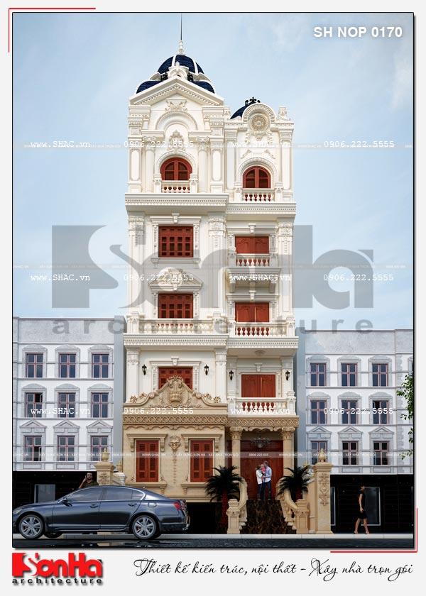 Mẫu thiết kế nhà phố kiến trúc Pháp mặt tiền 8m kết hợp kinh doanh tại Bắc Ninh