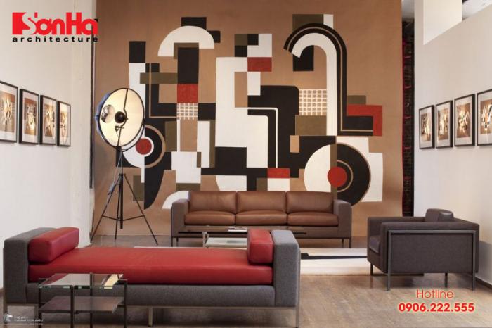 Mẫu thiết kế phòng khách đẹp với việc vẽ tranh tường độc đáo và ấn tượng