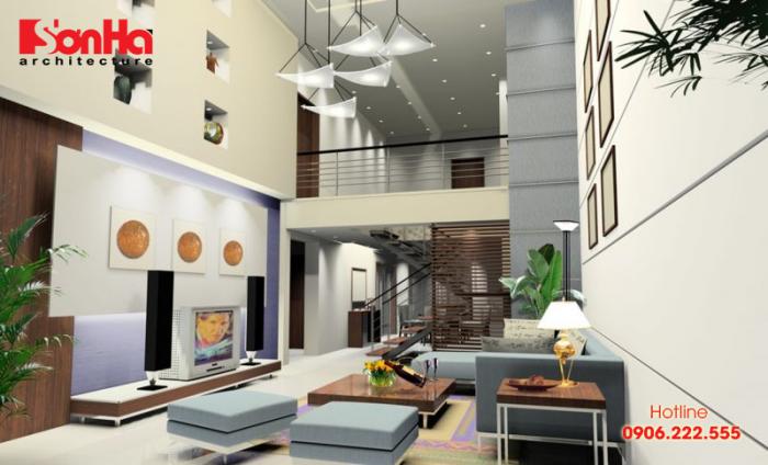 Phòng khách có cầu thang đẹp mang lại vượng khí cho toàn ngôi nhà