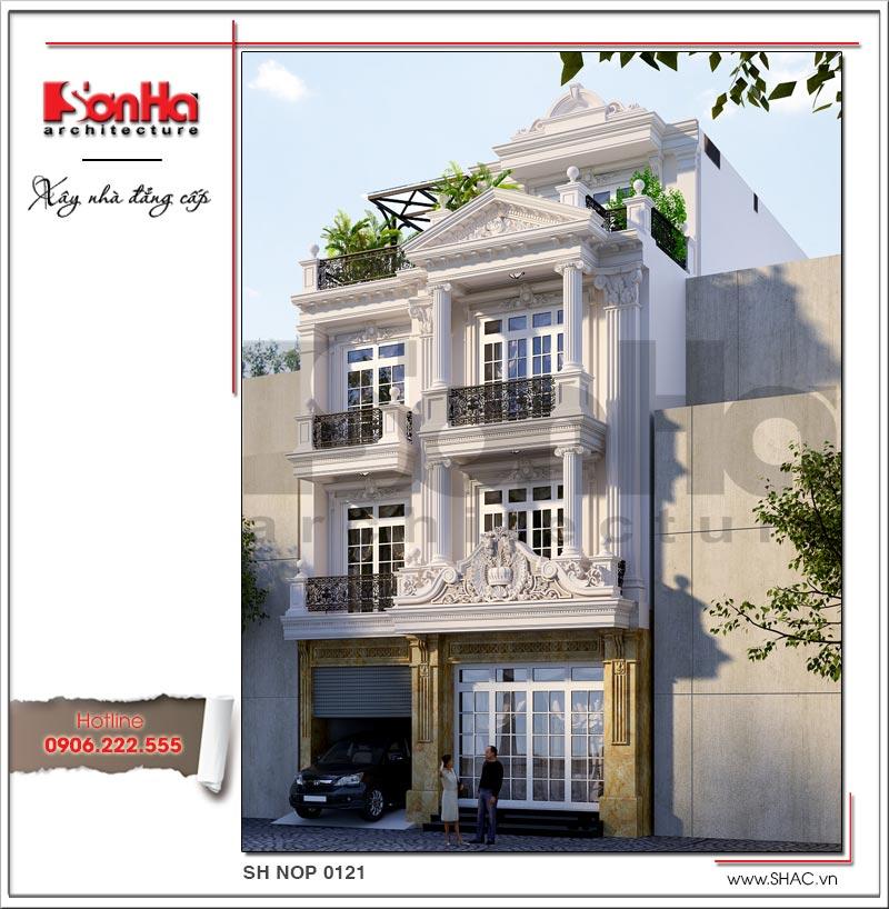 Phương án thiết kế nhà ngang 8m kiến trúc cổ điển Pháp sang trọng và tinh tế