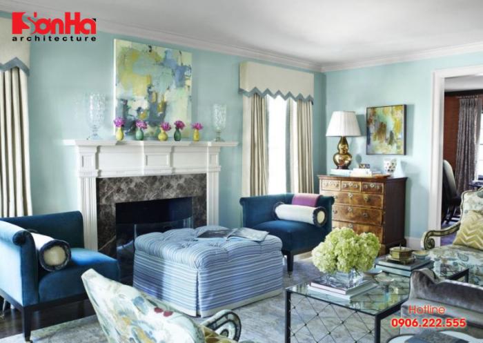 Tham khảo hữu ích cho việc sử dụng màu xanh làm ngọc trang trí phòng khách