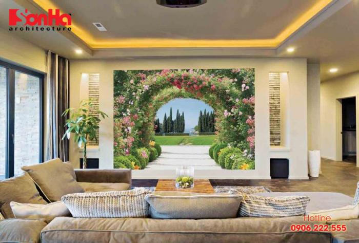 Thêm một tham khảo ấn tượng khác cho mẫu phòng khách đẹp với vẽ tường