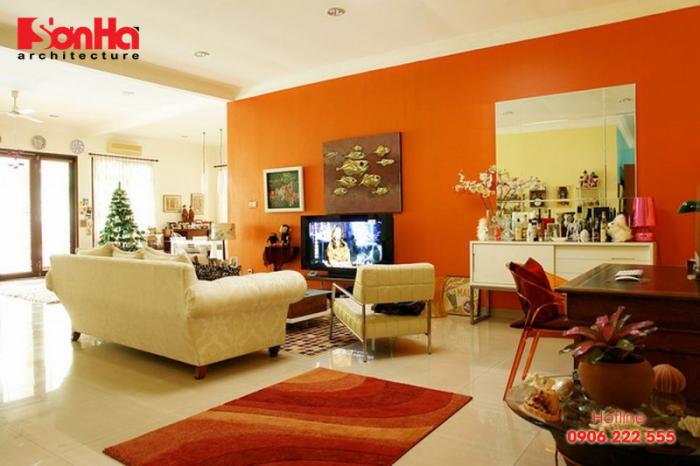 Thêm một ý tưởng cho sử dụng màu đỏ trang trí phòng khách đẹp
