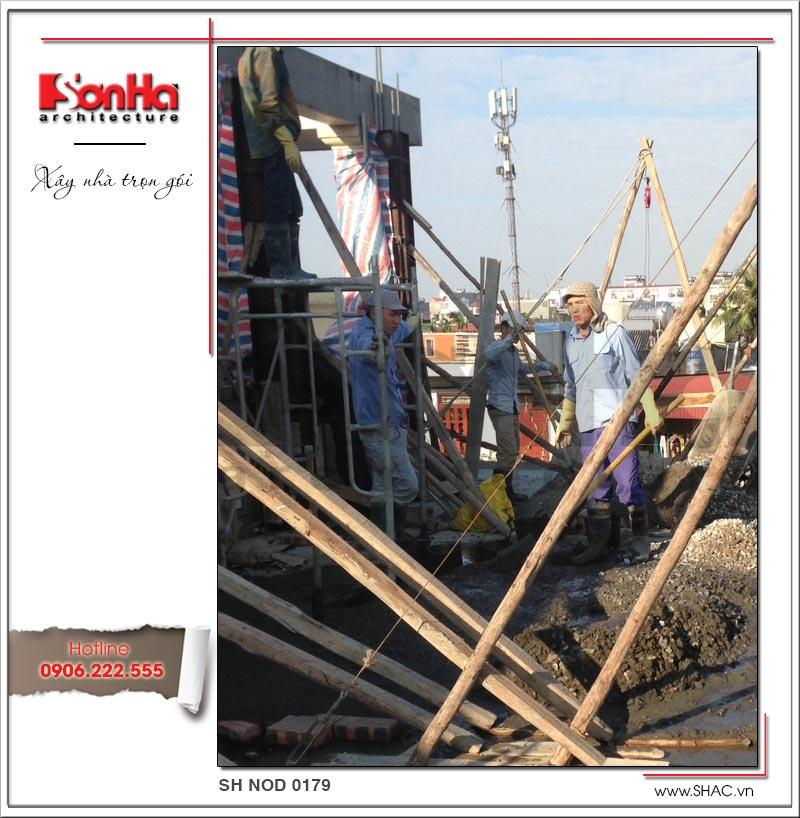 Thi công phần thô của công trình xây nhà ống trọn gói 4 tầng tại Hải Phòng