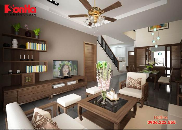 Thiết kế nội thất phòng khách phong cách Á Đông cho biệt thự đẹp