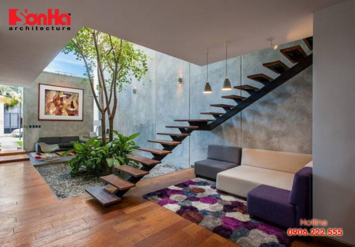 Thiết kế phòng khách có cầu thang thế nào cho hợp lý và phong thủy