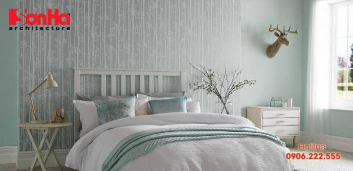 Trang trí nội thất phòng ngủ với giấy dán tường họa tiết mềm mại và đẹp mắt