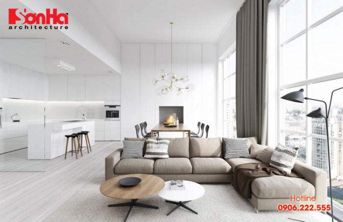 Trang trí thiết kế phòng khách hiện đại với gam màu trắng thanh nhã