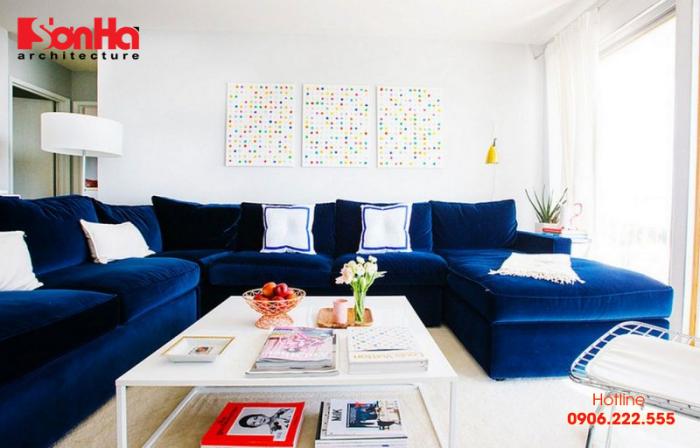 Ví dụ cho thiết kế nội thất phòng khách đẹp với gam màu trắng và xanh
