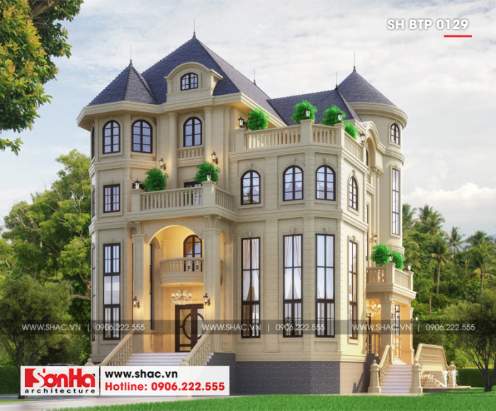 Thiết kế ấn tượng của ngôi biệt thự tân cổ điển châu Âu 4 tầng của đại gia Việt
